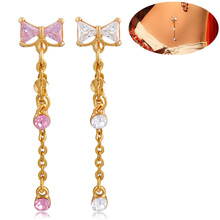 1PCS wholesale  2016 New Style Tie clip JEWELRY clear Link  gold navel rings body belly piercing Valentine's Day gift chains
