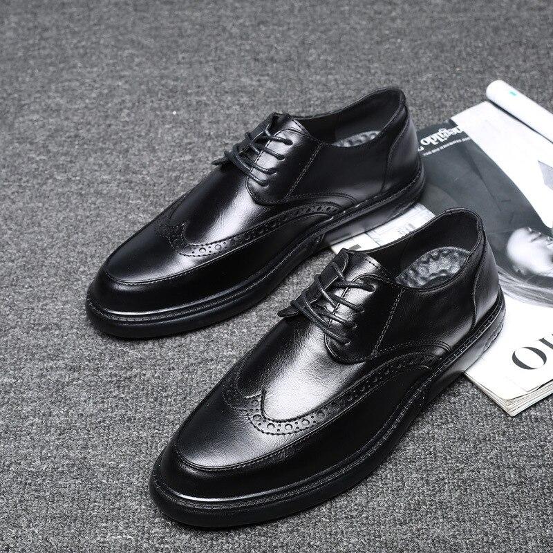 Ornamentação Dos Homens up Carreira Bico Sapatos De Preto Fino cinza Costura Maduro Vestido Microfibra Baixo marrom Oxfords Sapato Lace Escritório Sólida Moda 06fwqqY