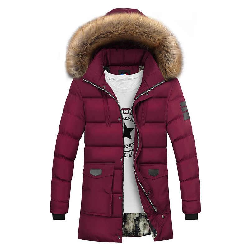 ... 2018 новая зимняя парка Для мужчин куртка Пальто Верхняя одежда с  меховым воротником модные капюшон мягкий ... ad7149953f1