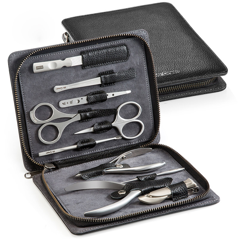 MR. VERDE Nail clippers forbici pelle bovina Importata 10 IN1 Manicure Set Professionale In acciaio inox grooming kit Cura delle unghie Set