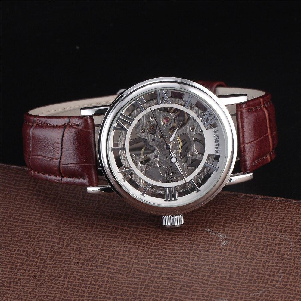 Top marca de lujo SEWOR esqueleto relojes hombres Steampunk mano - Relojes para hombres - foto 4