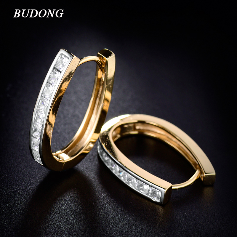 BUDONG Fashion Large Hoop Earring for Women Silver Gold Color Princess font b Crystal b font