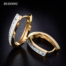 BUDONG Fashion Large Hoop Earring for Women Silver/Gold-Color Princess Crystal Cubic Zirconia Wedding Huggie Jewelry XUE100