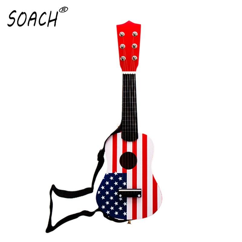 SOACH 21inch wood Bass ukulele guitar 6 strings + Black Strap Play paddle Child Guitar Toy ukulele Musical Instrument