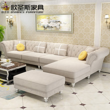 Luxury l shaped sectional living room furniutre Antique Europe design classical corner wooden carving fabric sofa sets W38F(China)