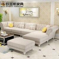 Luxus l förmigen schnitt wohnzimmer furniutre Antike Europa design klassische holz corner carving stoff sofa setzt W38F