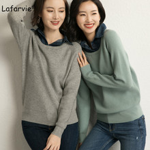 Lafarvie Turn-down Collar Knitted Sweater Women Autumn Winter Long Sleeve Casual Warm Pullover Female Solid Color Basic Jumper realshe long sleeve sweater women turn down collar buttons solid sweater women winter sweater woman pullover 2019 female sweater