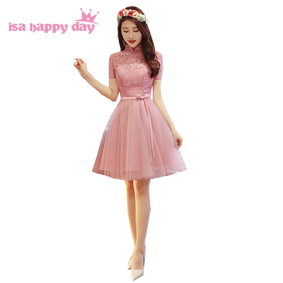 blush country bridesmaid dresses elegant bridesmaids woman dress women for wedding party short robe de soiree 2018 H4147