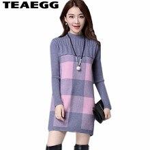 TEAEGG Cashmere Autumn Sweater Dress Women Clothes Vestidos Verano 2017 Gray Ladies Dresses Large Sizes 4XL Vestido De FestaAL47