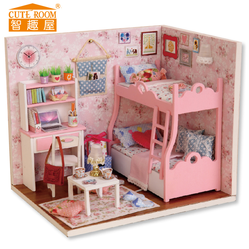 Assemble DIY Doll House Toy Wooden Miniatura Doll Houses Miniature Dollhouse Toys With Furniture LED Lights Birthday Gift H012