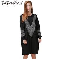 Winter Fall Long Loose Big Size Designer V Word Sparkling Diamond Women Dress Black Clothing