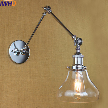 IWHD Retro Vintage Wall Light Fixtures Bar Coffe Style Loft Industrial Glass Swing Long Arm Wall Lamp Sconce Lampara Pared