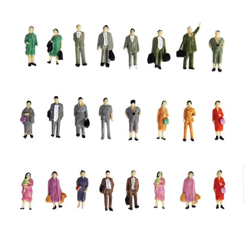50pcs Modello di Persone Mini Bilancia 1:87 dipinte Modello Persone Mix Verniciato Model Train Park Street Passeggero Figure di Persone