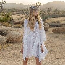 Бикини, белое пляжное платье Saida de Praia, хлопковое пляжное покрывало, кафтан, Пляжное парео, купальник с кружевными вставками