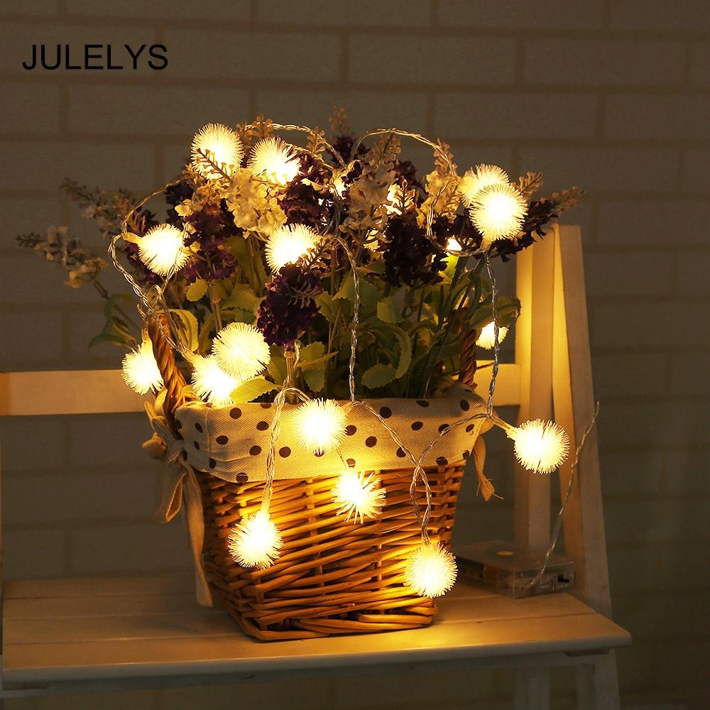 JULELYS 1.2M 10 Bulbs Gerlyanda Battery Powered Festoon LED Light Ball Christmas Garland String Lights Decoration For Holiday