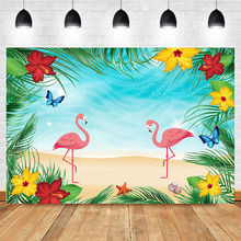 NeoBack Flamingo Happy Birthday Photo Backdrop Summer Beach Flower Custom Background Studio