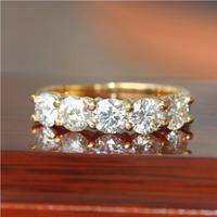 1.25 Carat ct Siempre Brillantes Engagement Wedding Band Anillo de Media Eternidad Aniversario Sólido 585 Oro Amarillo Regalo