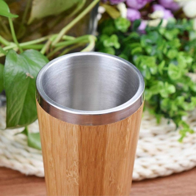 Bamboo Coffee Cup Stainless Steel Coffee Travel Mug With Leak-Proof Cover Insulated Coffee Accompanying Cup Reusable Cup 5