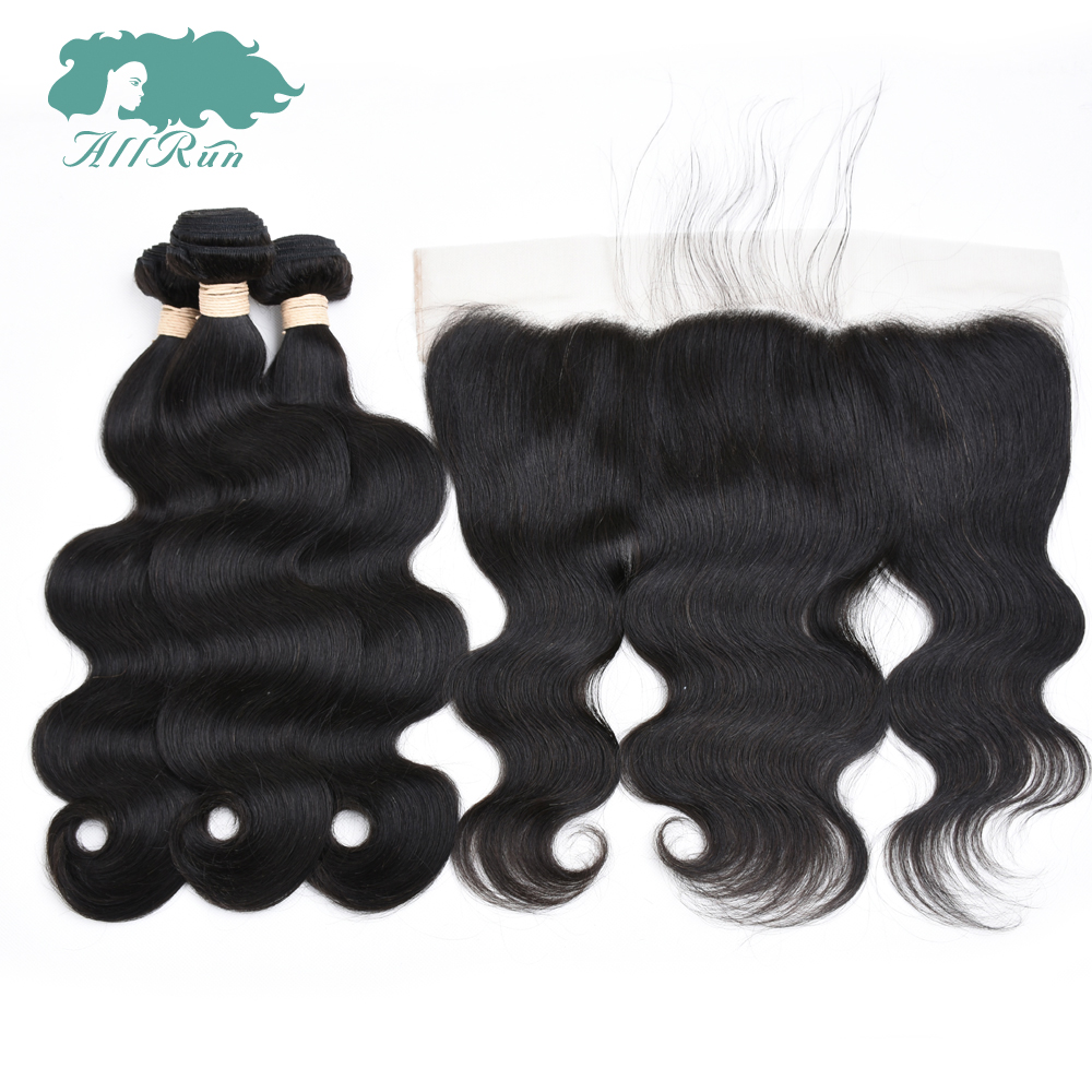 Brazilian Body Wave 3 Bundles With Lace Frontal Closure Allrun Hair Weave Bundles With Frontal Non Remy Human Hair Extensions