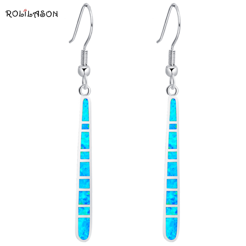 ROLILASON Hot Sale Prom Long Dangle Earrings For Women 2017 Blue Fire Opal 925 Silver Excellent Fashion Jewelry OE612