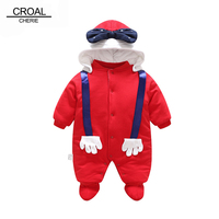 CROAL CHERIE 50 80cm Christmas Newborn Baby Clothes Children Long Sleeve Cartoon Winter Rompers Outerwear Infant