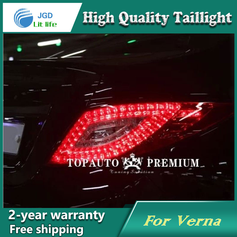 Car LED Tail Light Parking Brake Rear Bumper Reflector Lamp for Hyundai Verna Red Fog Stop Lights Car styling 2x led car styling red rear bumper reflector light fog parking warning brake tail lamp for toyota vellfire alphard 30 series