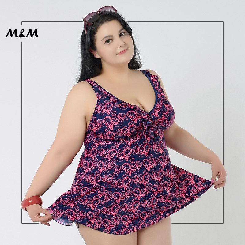 M&M Plus Size One Piece Swimsuit Sexy Blackless Print Swimwear Skirt Women With Swimming Pants Large Size Push Up Bathing Suit skirt style swimwear dress conservative russia women one piece swimsuit ladies bathing suit super large size m 3xl