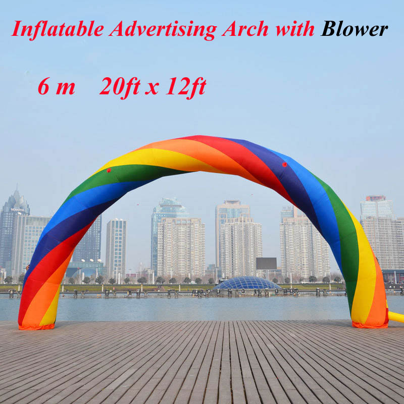 20ft x 12ft 6m Rainbow Inflatable Advertising Arch with Blower 110v/220v Colorful Balloon for Advertisement ao058r 2m sky balloon new brand attrative pvc helium balloon custom advertising inflatable balloon