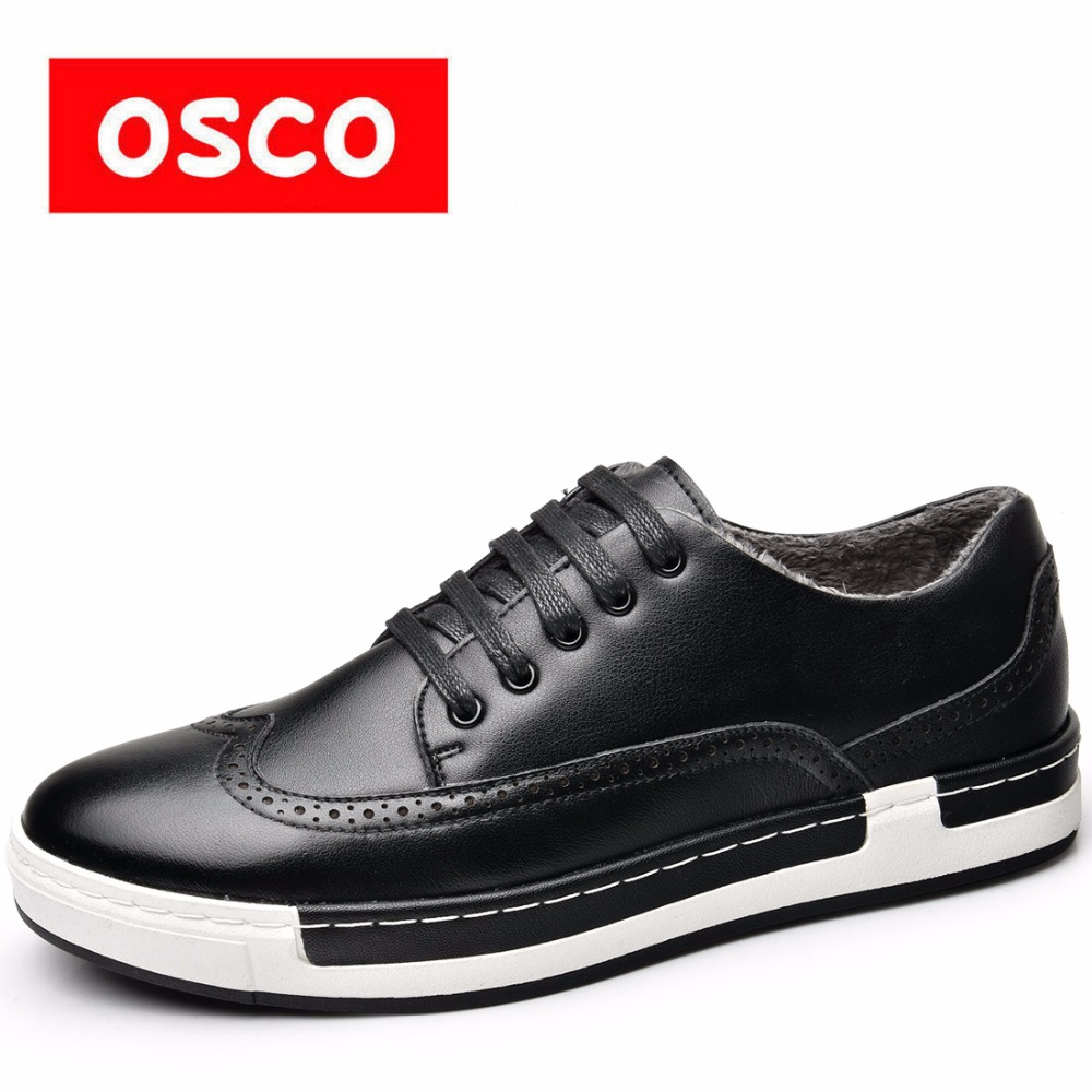 OSCO Autumn Winter New Genuine Leather Men Casual Shoes Brand Plush warm shoes business Bullock Carved Flat Shoes For Men genuine leather men casual shoes wool fur warm winter shoes for men flat lace up casual shoes men s flat with shoes fashion