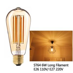 Image 2 - E27 żarówka LED ściemniająca żarówka E14 220V złota 1W 3W 4W 6W 8W E12 E26 110V Edison Retro żarówka LED 2200K G40 żarówka