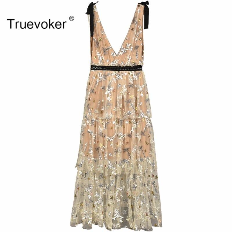 Truevoker Summer Designer Party Dress Womens Noble Sexy Deep V-neck Star Embroidery Nude Lace Strap Vestido