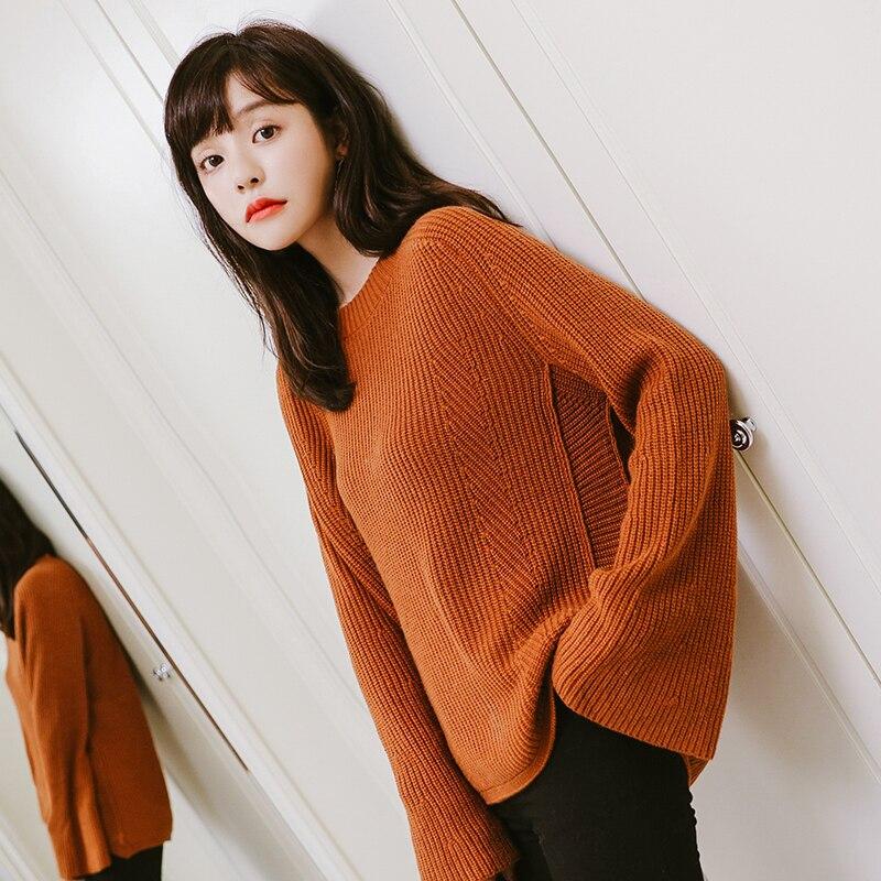 الشتاء 100% نقية سترة الكشمير المعنقة الإناث عارضة محبوك فضفاض طويل كم البلوز البلوزات الخريف 2018 الكورية النساء البلوز أعلى-في البلوفرات من ملابس نسائية على  مجموعة 2
