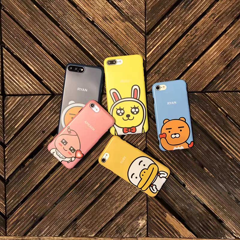 B&E For iPhone 7 Plus case cartoon bear 6 6sPlus silicone matte back cover for iPhone X 8Plus cute lovers 4.7 5.5 5.8 inch new