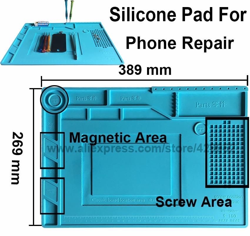 efix Hot Air Gun Station Heat Resistant Insulation Magnetic Silicone Pad Desk Mat Fix iPhone BGA Soldering Repair Tool Kit