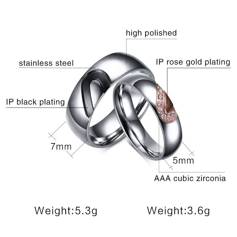 TTVOVO His /& Hers Couple Ring Promise Ring Real Love Heart Stainless Steel Bands Ring Matching Promise Ring Bridal Wedding Engagement Bands Rings for Women Men Lovers Bridal Jewelry Gifts US Size 4-15