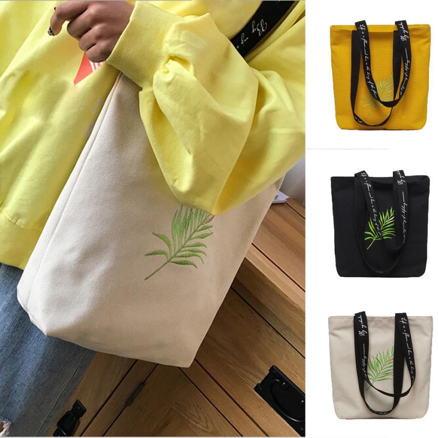2018 Women Canvas Handbag Printed Shoulder Bag Female Large Capacity Ladies Beach Bag Women Canvas Tote Shopping Handbags