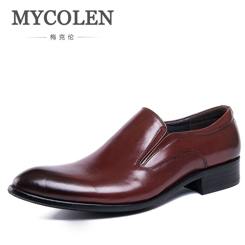 MYCOLEN Men Wedding Dress Shoes Black Wine Red Genuine Leather Oxford Shoes Formal Office Business British Style Slip-On fashion genuine leather men oxford shoes slip on casual office formal business men shoes brand men wedding shoes men dress shoes