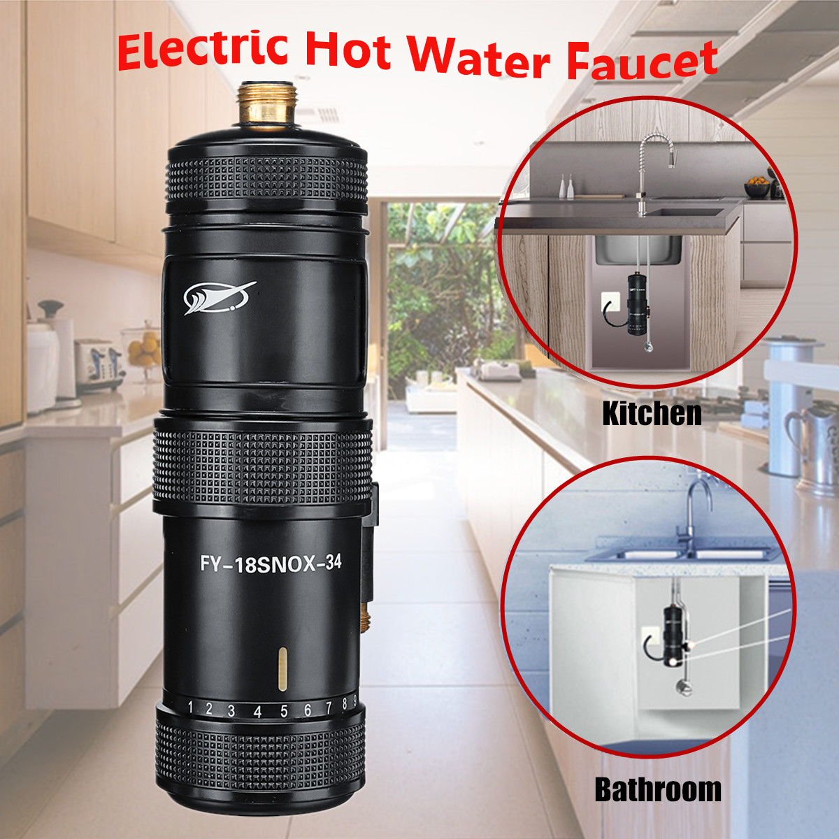 220V 3400W Instant Heating Electric Hot Kitchen Electric Faucet Water Heater Hot Water System Shower Tap Bathroom kitchen image