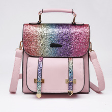 2019 new sequins backpack female mini leather bag girls casual Mochila Feminina