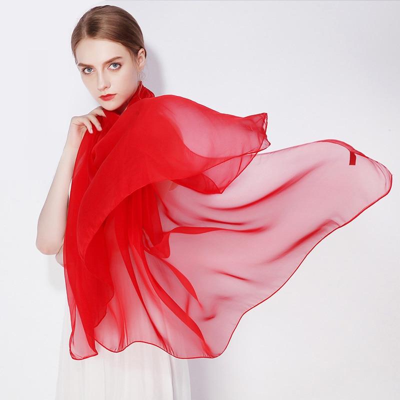 100% Real Silk Hijab Long Scarf Beach 180*90 cm Scarves Beige White Black Burgundy Rose Red Purple Green Yellow Orange Blue Cape