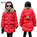 Winter Jacket For teenage Girls Fur Hooded Baby Winter Coat Girl Long Cotton-Padded Parkas Down Warm Kids Child Outerwear JW0729