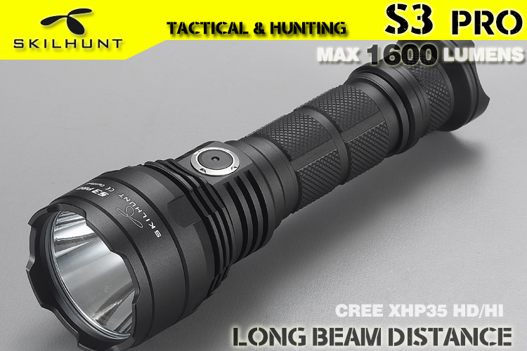 2017 New SKILHUNT S3 PRO CREE XHP35 HD HI LED USB rechargeable tactical 1600 Lumen 1400