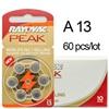 60 X Hearing Aid Batteries 13A Zinc Air 13 P13 PR48 Battery For BTE Hearing Aids