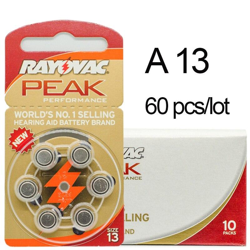 60 stücke Rayovac Spitzen Zink Air Hörgerät Batterien 13A A13 13A 13 P13 PR48 Batterie für BTE hörgeräte