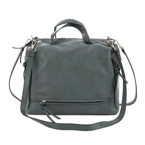 Image 4 - DIDA BEAR women handbag PU leather tote bag Retro shoulder messenger bags Tote Shopping bag green gray blue red Femme Sac a Main