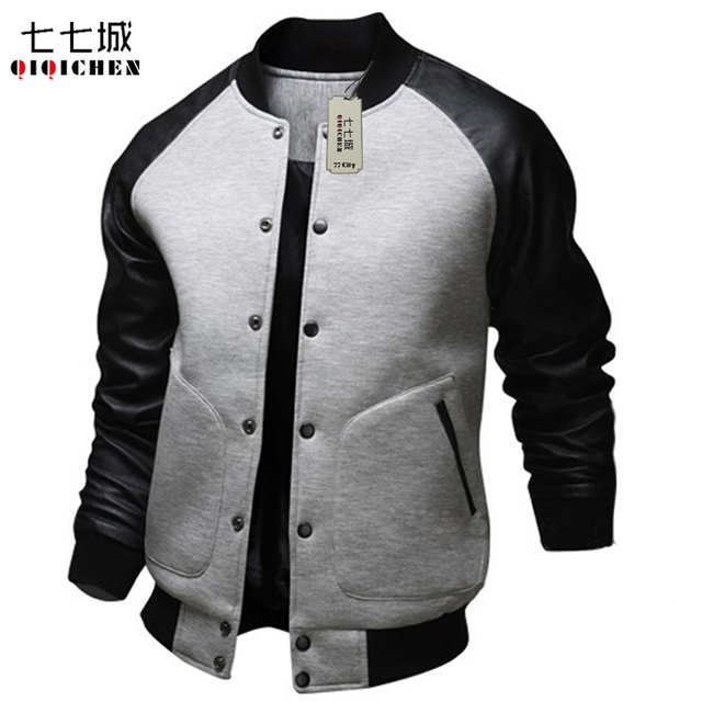 Hooded Baseball Jacket Men Women 2017 Fashion Black Patchwork PU ...
