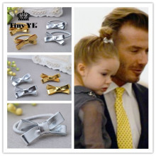 Hot Kids Gift Bow Hairpins Girls Hair Accessories Children Accessories Solid Gold Silver color Hair Clip Lovely Flower Headdress(China)