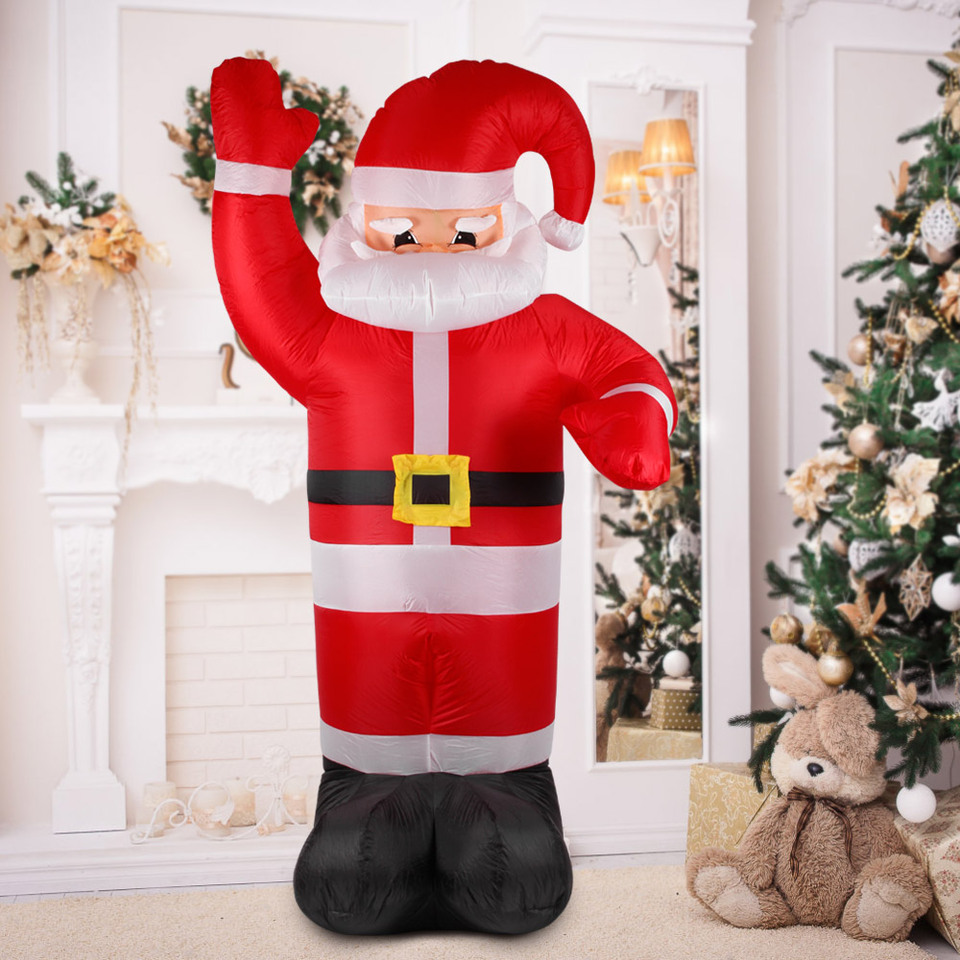 US $59 33 OFF 2 4m Tall Inflatable Christmas Santa Claus Outdoor Christmas Decorations for Home Supermaket Ornaments Yard Garden Decoration Party