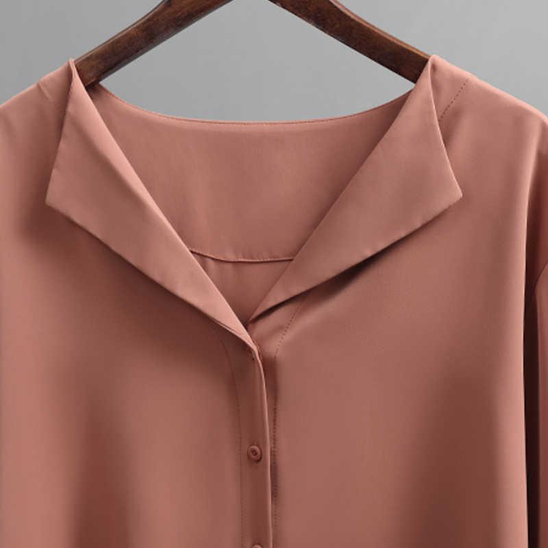 2019 otoño nueva blusa de chifón sólida para mujer blusa de oficina con cuello en V botón suelto casual camisas sólidas para mujer prendas de vestir