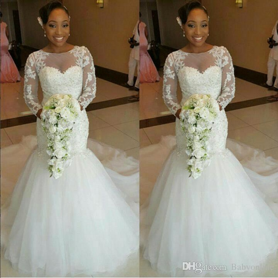 Beaded tulle sexy vintage lace african wedding gowns long sleeve beaded tulle sexy vintage lace african wedding gowns long sleeve mermaid wedding dresses for black women 2017 in wedding dresses from weddings events on ombrellifo Image collections